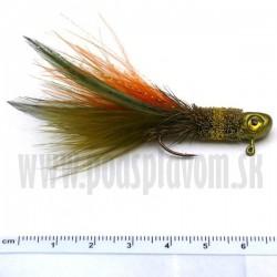 RVFLY Jig Muškársky s očami - oranžovo-zelený/3,5g 7cm 1ks