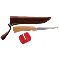 Filetovací nôž s dřevěnou ručkou a pouzdrem (čepel 10cm)
